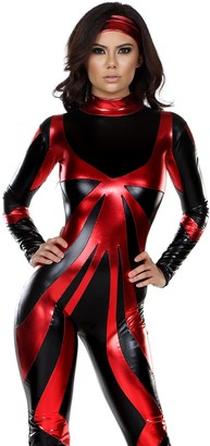Forplay Women's Astonishing Ace 2-Toned Abstract Hero Catsuit and Headband