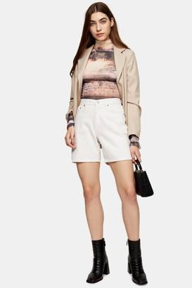 Topshop Mid Rise White Denim Shorts