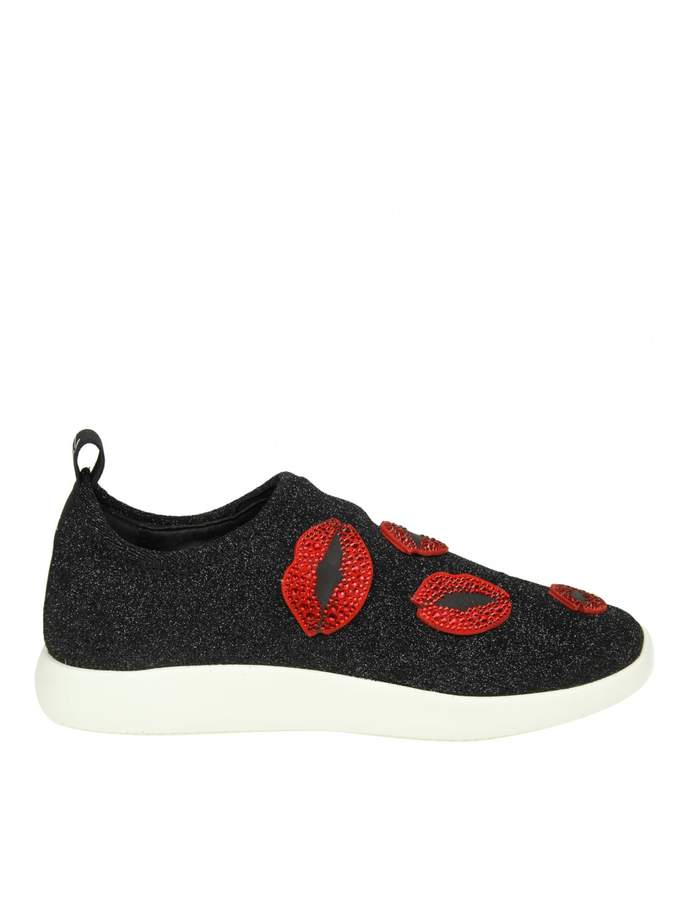Giuseppe Zanotti natalie Sneakers In Black Fabric With Red Lips Appl