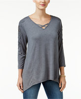 Style&Co. Style & Co. Lattice-Neck Crochet-Trim Top, Only at Macy's