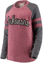 Unbranded Women's Pressbox Cardinal Arkansas Razorbacks Dawn Twisted Terry Raglan Sleeve Stripe Crew Sweatshirt