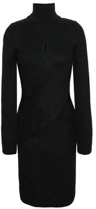 Roberto Cavalli Crossover Ribbed Wool-blend Turtleneck Mini Dress