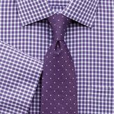 Charles Tyrwhitt Slim Fit Non-Iron Gingham Purple Edged Short Sleeve Cotton Dress Casual Shirt Size 15/Short