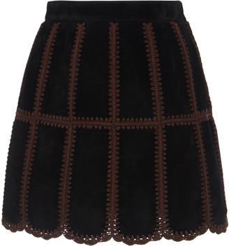 Miu Miu Women's Patchwork Suede Mini Skirt - Black - Moda Operandi