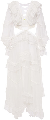 Zimmermann Lace-up Lace And Flocked Silk-georgette Midi Dress