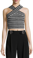 Elliatt Sculpture Crisscross Cropped Top, Black