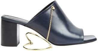 Jil Sander Navy Leather Mules & Clogs