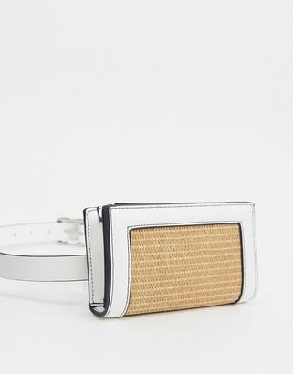 Pieces straw belt bag in white