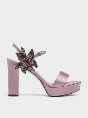 Charles & Keith Sequin Flower Satin Chunky Platform Heels