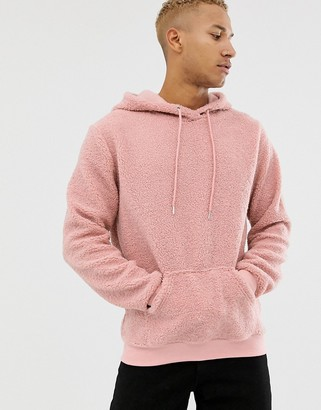 N. Liquor Poker oversized borg hoodie in dusty pink