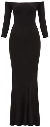 Norma Kamali Off-the-shoulder Jersey Maxi Dress - Womens - Black
