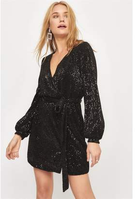 Dynamite The Ruby Sequin Wrap Dress Jet Black