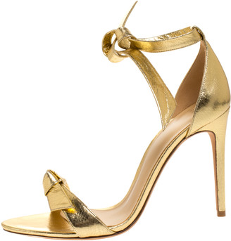 Alexandre Birman Metallic Gold Leather Clarita Ankle Wrap Sandals Size 40