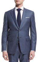 Isaia Super 160s Box Check Two-Piece Suit, Light Blue
