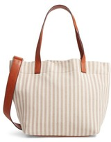 Street Level Stripe Tote - Brown