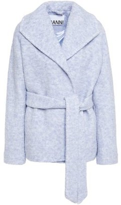 Ganni Melange Wool-blend Boucle Coat