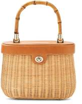 J.Mclaughlin Ava Bamboo Handle Wicker Satchel