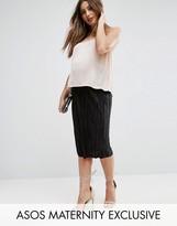 Asos Over The Bump Plisse Midi Skirt