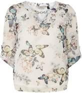 **Billie & Blossom Ivory Butterfly Print Blouse