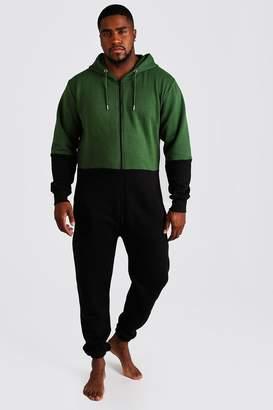 BoohoomanBoohooMAN Mens Green Big & Tall Colour Block Onesie, Green
