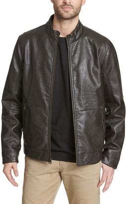 Dockers Men's Pebbled Faux-Leather Racer Jacket