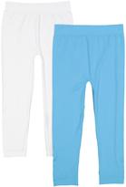 White & Aqua Two-Pair Seamless Capri Leggings Set