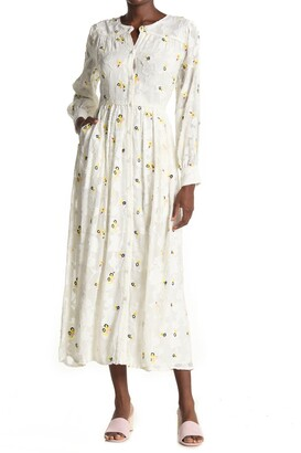 Paul & Joe Sister Lacrima Embroidered Long Sleeve Maxi Dress