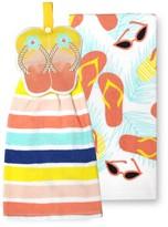 Celebrate Summer Together Flip-Flop Tie-Top Kitchen Towel 2-pk.