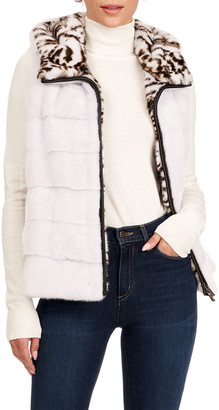 Gorski Horizontal Mink Fur Vest W/ Hood