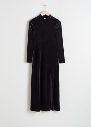 And other stories Velvet Turtleneck Midi Dress