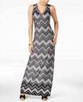 NY Collection Petite Chevron-Print Maxi Dress