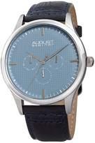 August Steiner Men's Multifunction Embossed Checkered Blue Dial Watch, 44mm