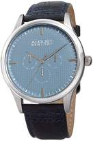 August Steiner Multifunction Embossed Checkered Blue Dial Watch, 44mm