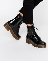 Monki Patent Chunky Lace Up Boots