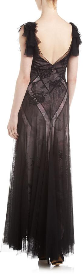BCBGMAXAZRIA Maggie Mesh-Overlay Gown, Mauve Rose