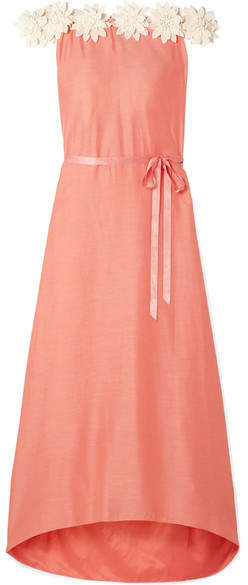 Miguelina Felicia Off-the-shoulder Guipure Lace-trimmed Cotton And Silk-blend Satin Maxi Dress - Coral