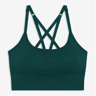 Joe Fresh Women's Cross-Back Strap Sports Bra, Teal (Size S)
