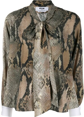 MSGM snakeskin print blouse