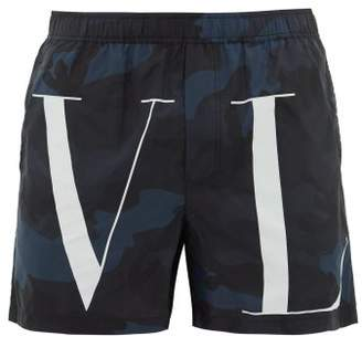 Valentino Camouflage And Vltn-print Swim Shorts - Mens - Blue