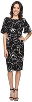 Christin Michaels Adoria Bell Sleeve Printed Crepe Midi Dress