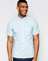 WÅVEN Regular Fit Denim Shirt Josef Short Sleeve Placid Blue Front Seam Pocket