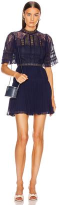 Self-Portrait Chiffon Lace Panel Mini Dress in Navy | FWRD