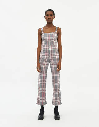 Which We Want Women's Ellie Plaid Jumpsuit in Grey, Size Small | Spandex