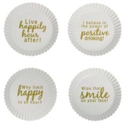 Transpac Trans Pac Metal White Celebration Happy Hour Tidbit Plate - Set of 4