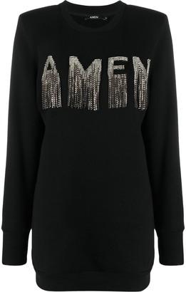 Amen Logo Stud-Fringe Longline Sweatshirt