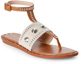 French Connection Safari & Sand Embellished Flat T-Strap Sandals