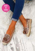 Pink Boutique Love Cheat Rose Gold Glitter Espadrilles