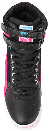 Puma The Sky Wedge Sneaker in Black and Cabaret