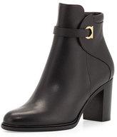Salvatore Ferragamo Florian Leather 70mm Ankle Boot, Black