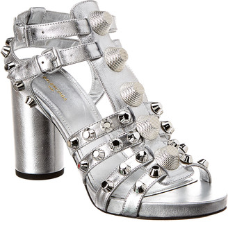 Balenciaga Giant Studded Metallic Leather Sandal
